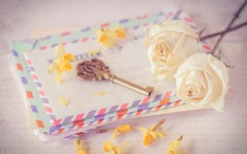 цветы, розы, ключ, конверт, письма, ключик