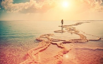 the sky, clouds, girl, landscape, sea, dress, sand, beach, dawn, braid, shoal