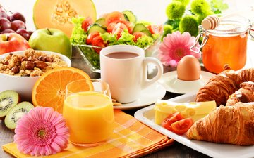 fruit, coffee, vegetables, breakfast, gerbera, juice, croissants
