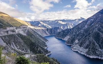 lake, mountains, nature, the fjord