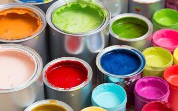 разноцветные, краски, краска, банки, баночки