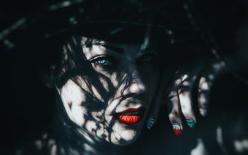 девушка, взгляд, модель, волосы, лицо, темнота, красные губы, фантазии, маникюр, dark indigo