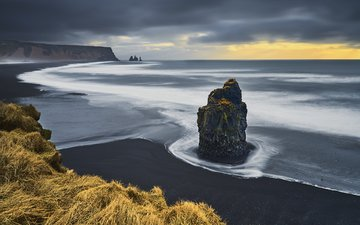 rocks, shore, landscape, sea, rock, beach, black sand