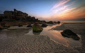 скалы, камни, пейзаж, море, песок, пляж, франция, francois le rumeur, kerfissien