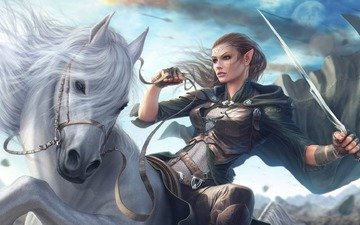 art, horse, girl, warrior, sword, fantasy, mane, elf, rider
