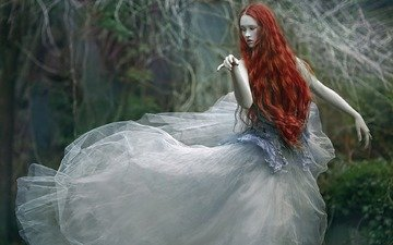 лес, девушка, платье, креатив, лицо, мечта, рыжеволосая, agnieszka lorek, wiki