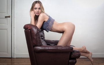 girl, blonde, model, chair, ass, on my knees, vincent chassin