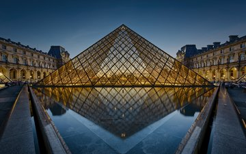 reflection, paris, pyramid, france, the louvre