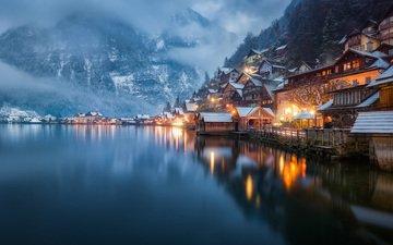 lights, lake, mountains, winter, the city, austria, hallstadt
