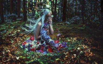 цветы, природа, лес, девушка, фантазия, модель, волосы, рога, kindra nikole, of withering abundance
