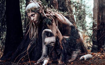 природа, лес, девушка, животные, фантазия, модель, профиль, крысы, kindra nikole