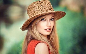 фон, блондинка, портрет, лицо, шляпа, боке, lods franck, perrine