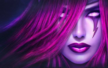 girl, face, makeup, red hair, morgana, league of legends, lol
