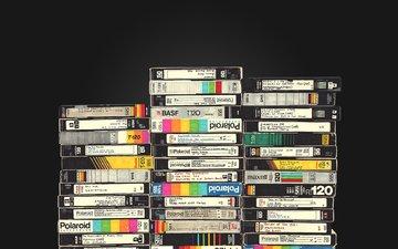 стиль, ретро, черный фон, кассеты, видеокассета, видеокассеты, vhs