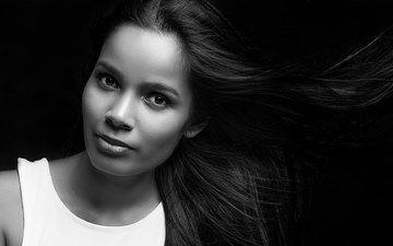 девушка, портрет, взгляд, чёрно-белое, модель, лицо, длинные волосы, shri rabilal