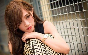девушка, взгляд, часы, модель, волосы, лицо, азиатка