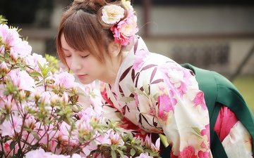 цветы, девушка, модель, волосы, лицо, кимоно, азиатка, закрытые глаза, цветы