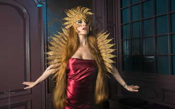 девушка, взгляд, фантазия, модель, лицо, макияж, длинные волосы, andr scherpenberg