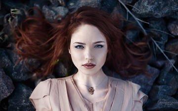 глаза, девушка, портрет, взгляд, модель, губы, лицо, рыжеволосая, жанна, артем бондарович