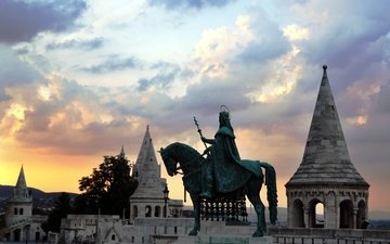 horse, clouds, trees, sunset, tower, architecture, statue, king, hungary, budapest, old building.budapest.hungary, the old building, sunset.clouds