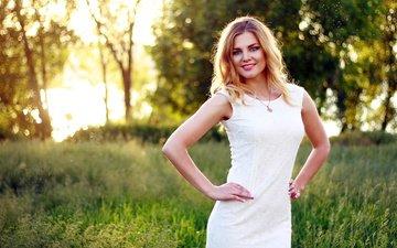трава, деревья, природа, поза, блондинка, фигура, белое платье, боке