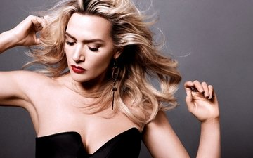 blonde, lips, actress, black dress, neckline, kate winslet, closed eyes, harper's bazaar, bare shoulders