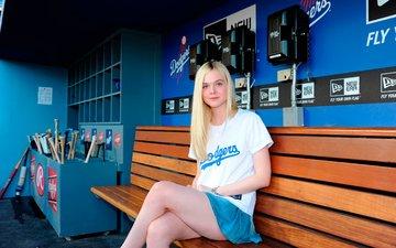 blonde, look, skirt, sitting, feet, bench, face, actress, the gym, el fanning, elle fanning