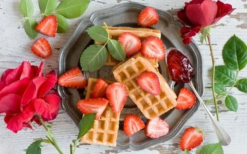 flowers, buds, roses, petals, strawberry, jam, berries, cakes, dessert, spoon, waffles