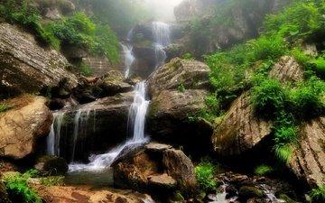 mountains, rocks, nature, stones, plants, landscape, waterfall