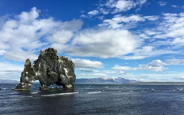 the sky, clouds, water, landscape, rock, bay, iceland, hvitserkur