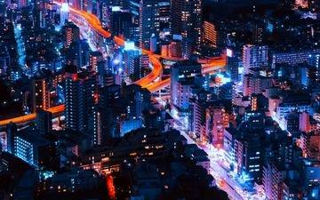 ночь, огни, город, япония, небоскребы, токио
