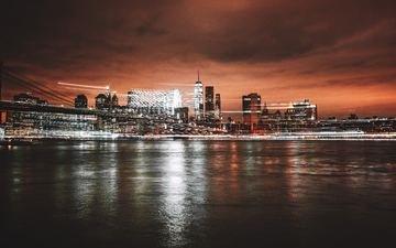 ночь, огни, вода, город, нью-йорк, городской пейзаж