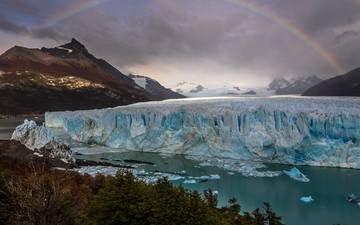 the sky, clouds, water, mountains, rainbow, glacier, argentina, perito moreno