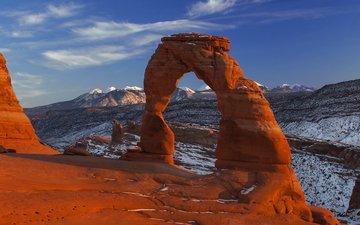 the sky, clouds, mountains, rocks, landscape, arch, arches national park, utah