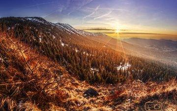 the sky, clouds, trees, mountains, sunrise, the sun, snow, winter, the sun's rays, poland