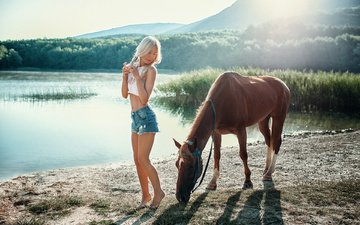 horse, trees, river, girl, pose, blonde, model, legs, denim shorts, evelyn, evgeny freyer