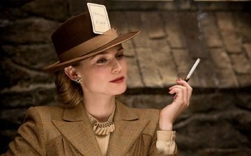 blonde, actress, movie, cigarette, hat, diane kruger, inglourious basterds