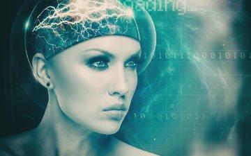 девушка, взгляд, робот, лицо, макияж, цифровое искусство, dmytro tolokonov, головной мозг