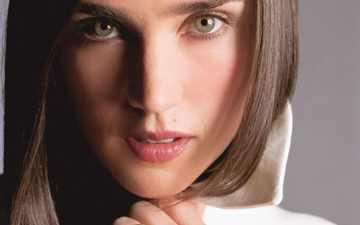 девушка, портрет, взгляд, губы, лицо, актриса, зеленые глаза, дженнифер коннелли