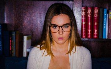 девушка, взгляд, очки, книги, волосы, лицо, модель.книги, наташа нис, natasha nice