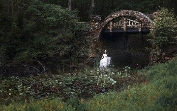 trees, water, nature, plants, brunette, bridge, asian, white dress