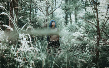 природа, растения, взгляд, модель, лицо, синие волосы, косплей, dark indigo