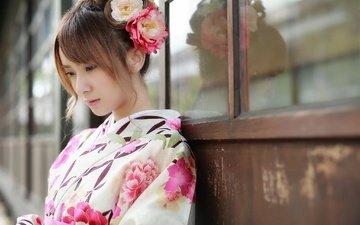цветы, девушка, взгляд, модель, профиль, волосы, лицо, кимоно, азиатка, восточная, brode十三