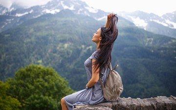 горы, платье, модель, профиль, сидя, закрытые глаза, ангелина петрова, денис петров