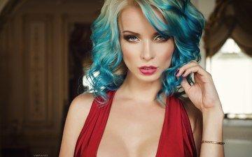 портрет, лицо, голубые глаза, красное платье, вырез, декольте, ekaterina enokaeva, nikolas verano