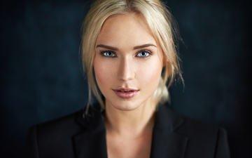 девушка, блондинка, портрет, взгляд, модель, лицо, голубые глаза, ева микульски
