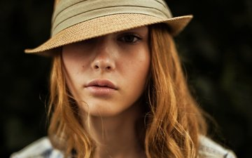 девушка, блондинка, портрет, взгляд, модель, волосы, лицо, шляпа