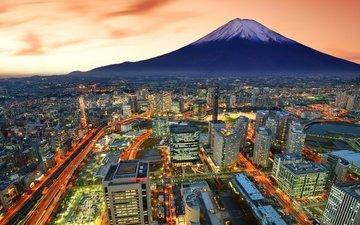 lights, mountain, the city, japan, the volcano, lighting, fuji, skyscrapers, yokohama