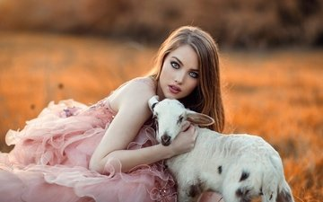 girl, look, hair, face, blue eyes, makeup, goat, pink dress, alessandro di cicco