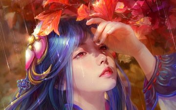 art, hand, leaves, girl, rain, face, red eyes, blue hair, cao yuwen